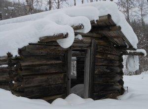 Cabin in snow.