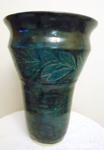 "14"" Motled green and black glaze, Cone 6"