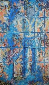 APROX 4'W x 7' oil on canvas