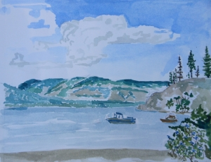 Water colour sketch of the view from Ellison Provincial Park, British Columbia Canada.