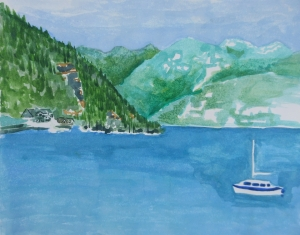 Watercolour sketch of Deep Cove looking towards Indian Arms.