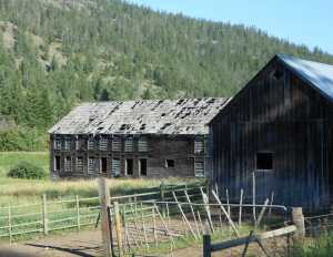 Weathered barns along Okanagan Highway BC.