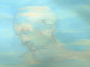 Oil paint and pencil sketch showing 3/4 profile of a lady.