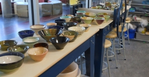 A few of the bowls made by Trout Lake Pottery Club members for the harvest dance.