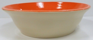 Fruit bowl brush coated with orange Speedball stain slip. Then dipped in clear glaze and brushed with tangerine glaze.