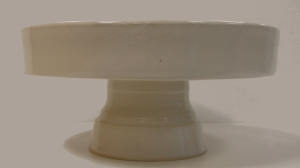 Pedestal white cake plate, wheel thrown and finished with antique white glaze.