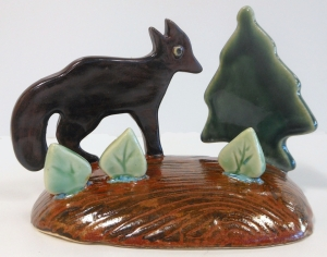 Canadian folk art of fox on the hunt.