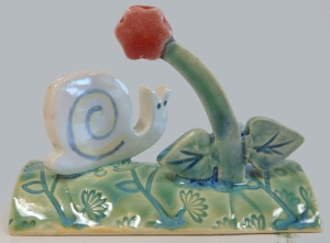 Kootenay white forest snail, slips and various glazes fired to cone 6.