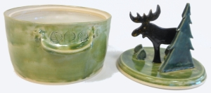 Glazed with forest green, chocolate brown, amber, spearmint and antique white glazes.