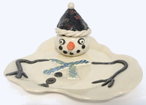 Hand made snowman plate and cup.