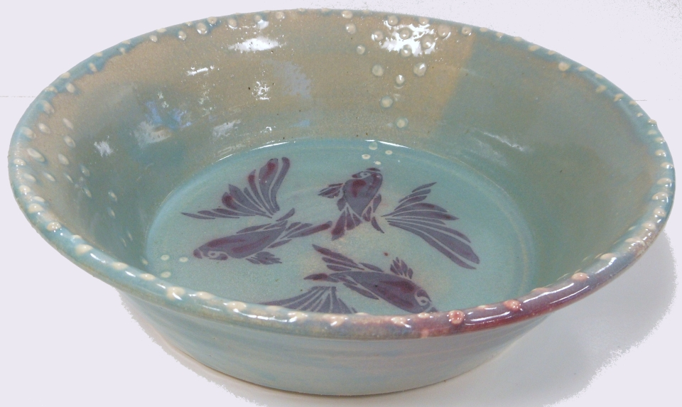 Decorative pottery fish bowl frank mitchell for Decorative fish bowls