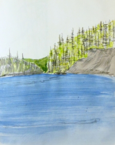 Watercolour, pen and ink sketch of McIver Lake Vancouver Island,  Circa 1990
