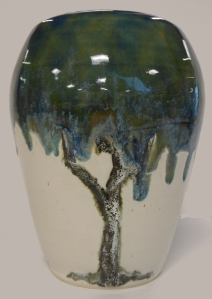 Pottery vase with image of tree.