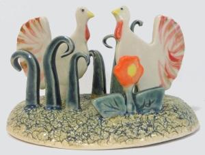 Pottery slab formed turkeys.