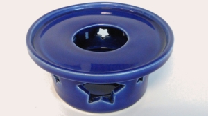 French press or Melita coffee warmer made with M 370 clay and glazed with cobalt blue.