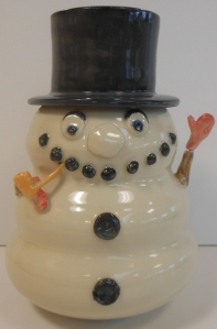 Pottery jar inspired by the song, Frost the Snowman.