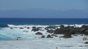 Manini' owali beach, Kua Bay, a fantastic place to body surf or just play in the waves. Hawaii, the big island.