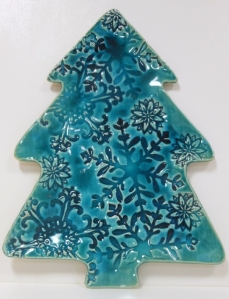 Merry Christmas, tree platter with impressed snowflakes, decorated with glacial lake glaze
