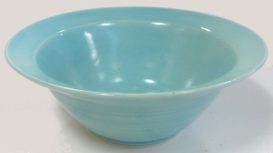 Wheel thrown stoneware bowl decorated with robins egg blue glaze