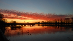 Sunrise over the Kerr Street Dock, Frazer River, Vancouver, Canada