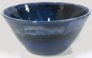 Large serving bowl, wheel thrown with floating blue and cobalt glazes.