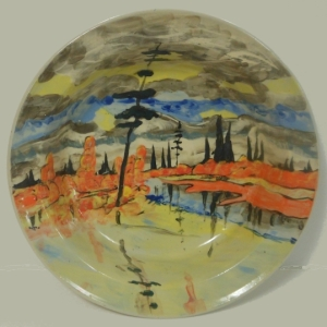 Hand painted fruit bowl with landscape image inspired by J. Macdonald