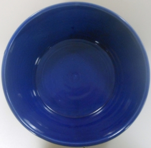 Large wheel thrown bowl decorated in cobalt and robins egg glazes.
