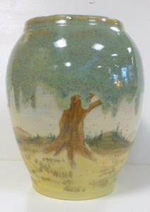 Large hand painted vase depicting weeping willow trees