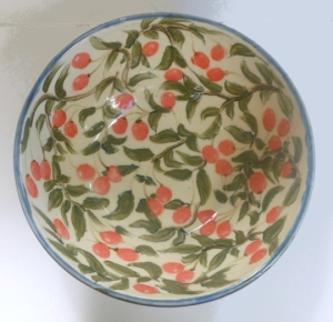 Large wheel thrown hand painted mixing bowl with cherry pattern inspired by a Qing Dynasty porcelain design.