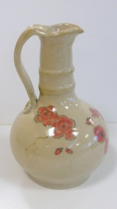 Studio art pottery wheel throw cruet bottle, Qing Dynasty floral motif.