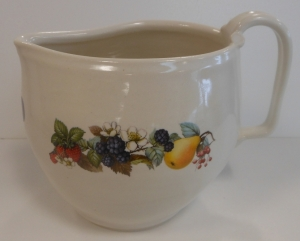 Wheel thrown white stoneware pitcher with ceramic cone 018 decals of fruit and flowers