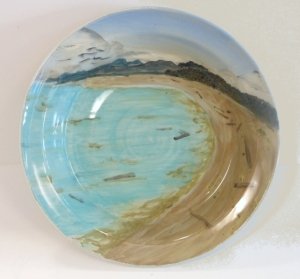 Recycled clay bowl with with slip painted image of Iona Beach Regional Park, Richmond BC Canada