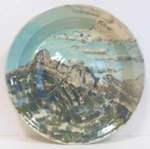 Recycled stoneware clay platter with image of Rocky Mountains from Kananaskis, Alberta, Canada