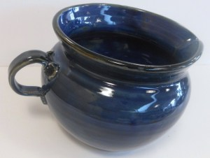Wheel thrown and decorated with cobalt, floating blue and black glazes.