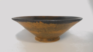Wheel thrown, oxidation fired pottery bowl with ash glaze decorative finish.