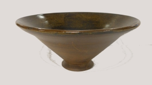 Large wheel thrown stoneware bowl, cone six oxidation fired.