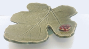 Leaf with ladybug.