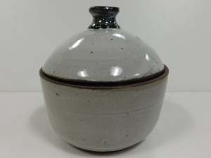 "Small 3"" grey jar with antique white glaze"