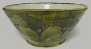 "A large 12"" bowl with trees."